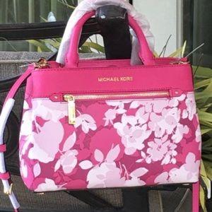 Michael kors pink floral kellen xs satchel